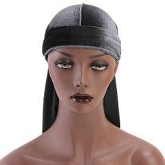Men Lady Velvet Bandana Durag Headwear Silk Pirate Cap Wrap Hat Grey