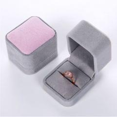 Velvet Engagement Wedding Earring Ring Jewelry Display Box  Pink and Grey