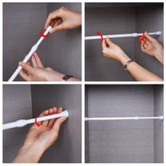 Telescoping Curtain Rods Metal Pole for Cupboard Utensils Cabinet White 40-70cm