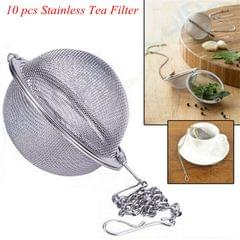 10 Pieces Stainless Steel Mesh Tea Ball Tea Strainer Filter with Chain 4.5cm