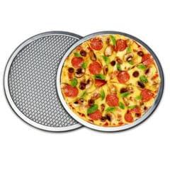 Aluminium Flat Mesh Pizza Screen Oven Baking Tray Net Bakeware 16inch