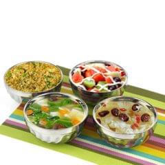 Kids Stainless Steel Double-deck Bowl Silver Color Dual-Layers Container 14CM