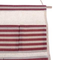 Cotton Linen Door Wall Hanging Storage Bag Home Organizer 4 Pockets - Red