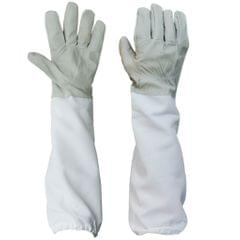 Pair Protective Beekeeping Gloves, Goatskin Bee Keeping with Vented Long Sleeves - Grey and White