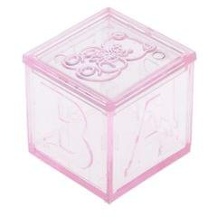 Building Blocks Candy Box Wedding Baby Shower Party Gift Favor Clear and Pink