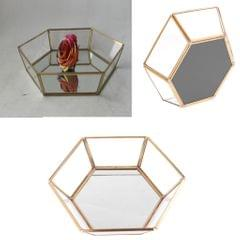 Hexagonal Clear Glass Jewelry Tray Table Succulent Plants Planter Box