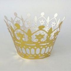 50Pcs Laser Cut Crown Theme Cupcake Wrappers Wraps Case Cake Holder Gold