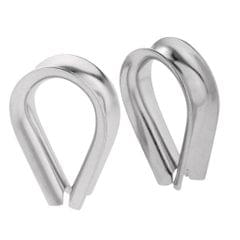 2 Pieces Stainless Steel Heart Shaped Cable Thimbles Wire Rope Fitting 6mm