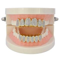 18K Gold Plated Micro Pave Top Bottom CUSTOM GRILL SET Mouth Teeth Grill #2