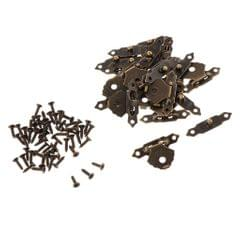 12pcs Wooden Box Buckle Triangle Flower  Metal Hasp Latch Buckle  Brown