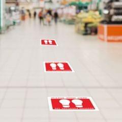 5pcs/set Social Distancing Floor Decals Sticker 6 Feet Floor Sign Notice C