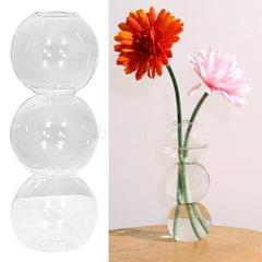 Glass Tube Vase Wooden Stand Flower Pots Hydroponic Planter 3 Balls
