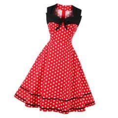 Vintage Polka Dots Swing Dress 50s Rockabilly Cocktail Dress Red L