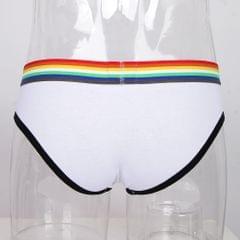 Men Rainbow Waistband Underwear Briefs Breathable Low Waist Shorts XL White+Black