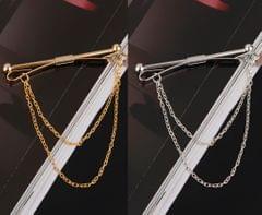 Men Necktie Shirt Tie Collar Pin Chain Tie Clip Clasp Bar Men's Brooch Gold