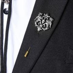 Royal Silver Lion Retro Brooch Pin Lapel Boutonniere Stick Shirt Corsage Pin
