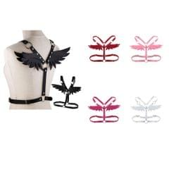 Womens Angel Wings Harness Belt Tops Punk Gothic Festival Costumes Red