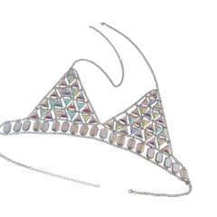 New Women Harness Top Bra Bikini Chainmail Lingerie Chest Body Chain Silver