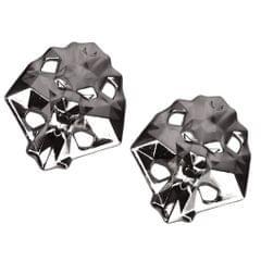 Footful Lion Head Metal Shoe Lace Locks Art Decoration Pair Black