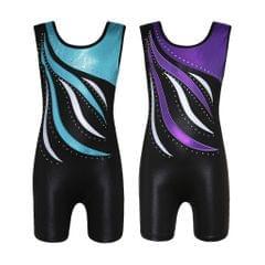 Girls Ballet Dance Gymnastics Leotards Tank Boy Shorts 5-6 Years Purple