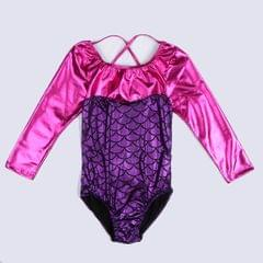 Kids Girls Long Sleeve Leotard Bodysuit Dancewear Costumes 6(5-6Y) Purple