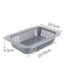Dish Rack Over Sink Adjustable Holder Utensil Drainer Organizer Fruit gray
