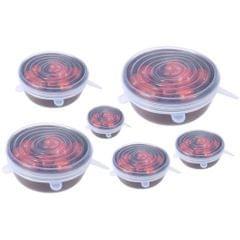 3PCS Reusable Stretch Lid for Suction Pot Seal Bowl Kitchen Storage White-L