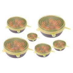 3PCS Reusable Stretch Lid for Suction Pot Seal Bowl Kitchen Storage Yellow-S