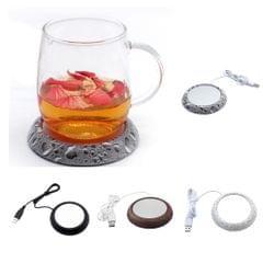 "Cup Mat USB Electrical Coffee Mug Warmer Heater Heating Pad Coaster 4"" Wood Grain"