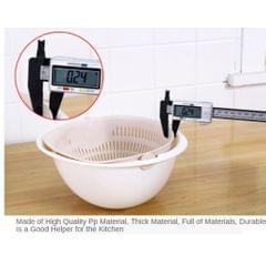 Double Drain Basket Bowl Rice Washing Vegetables Fruit Kitchen Gadget Pink