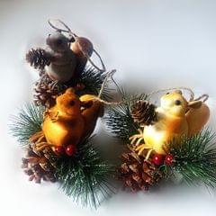 Artificial Squirrel Hanging Pendant For Home Christmas Xmas Party Dec Grey