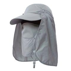 Outdoor Fishing Hat with Face Neck Flap Cover Baseball Sun Hat Gray