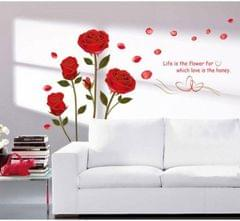 Design Wall Large Bedroom Romantic Rose Flowers Wall  (Pack of 1)