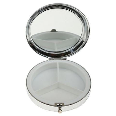 Stylish Compact Round Metal Pill Case Box Organizer 3 Compartment