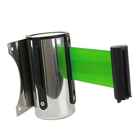 2m Heavy Duty Retractable Crowd Control Barrier Ribbon QUEUE Belts Green