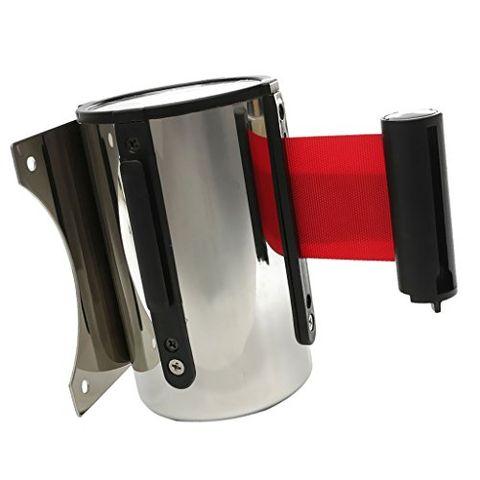 2m Heavy Duty Retractable Crowd Control Barrier Ribbon QUEUE Belts Red