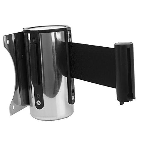 Stanchion Queue Barrier Wall Mount Crowd Control Retractable Ribbon 2m Black