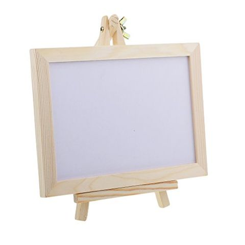Mini Wooden Framed Double Sided Whiteboard Message Note Sign Memo Blackboard Easel Stand Holder for Display
