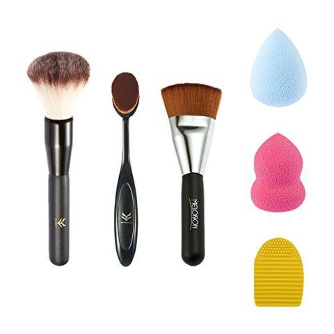 Set of 6 Powder / Flat Top/ Toothbrush Makeup Brush Sponge Puff Cleaner Kit
