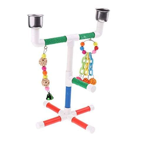 Pet Parrot Wood Stand Perches Toy for Bird Parrots Cockatoo,Budgie,Canary