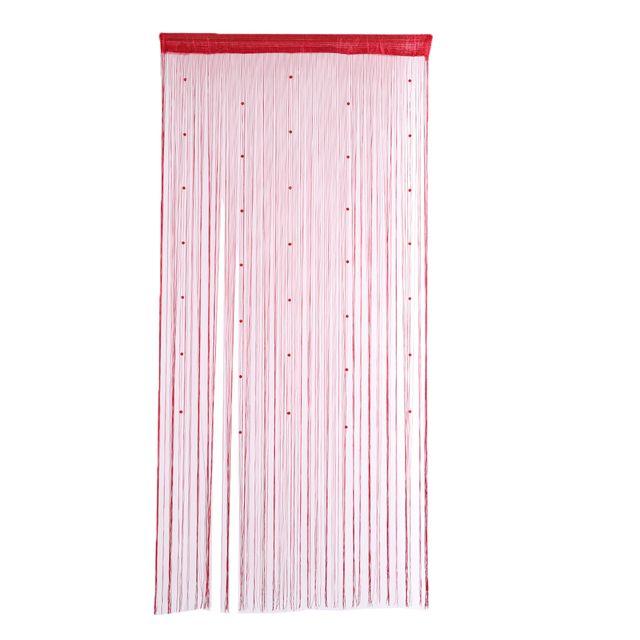 Crystal Beads Yarn-dyed Curtain Window Drape Passage Divider Decor Wine Red