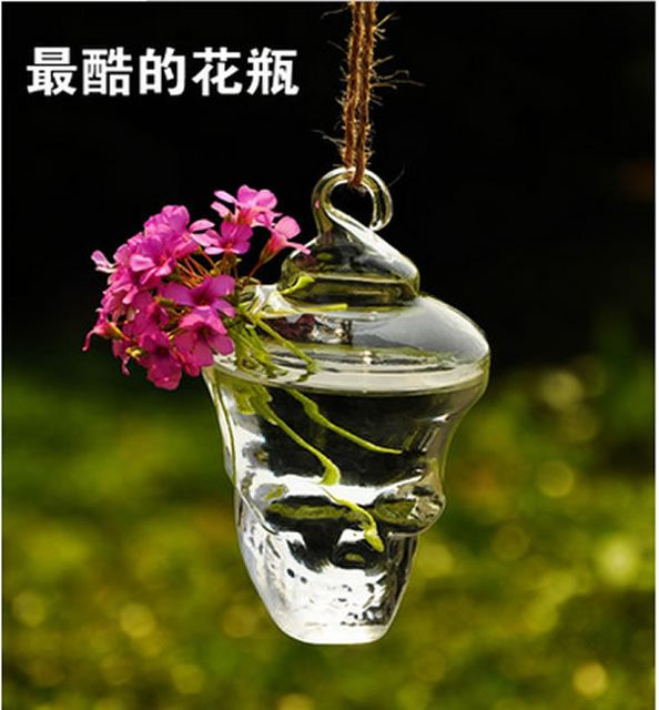 Skull Shaped Glass Hanging Vase Bottle for Plant Flower Decoration 12cm