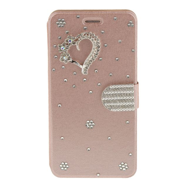 Portable Stylish PU Leather Bling Diamond Wallet Case Cover COMPATIBLE FOR IPhone 6 6s Plus Rose Gold