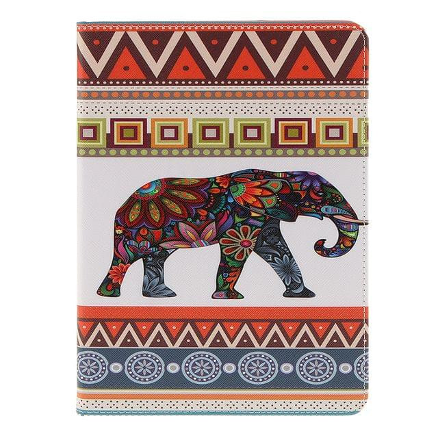 Portable Waterproof Dustproof PU Leather Elephant Pattern Protective Case Cover FIT FOR IPad 7