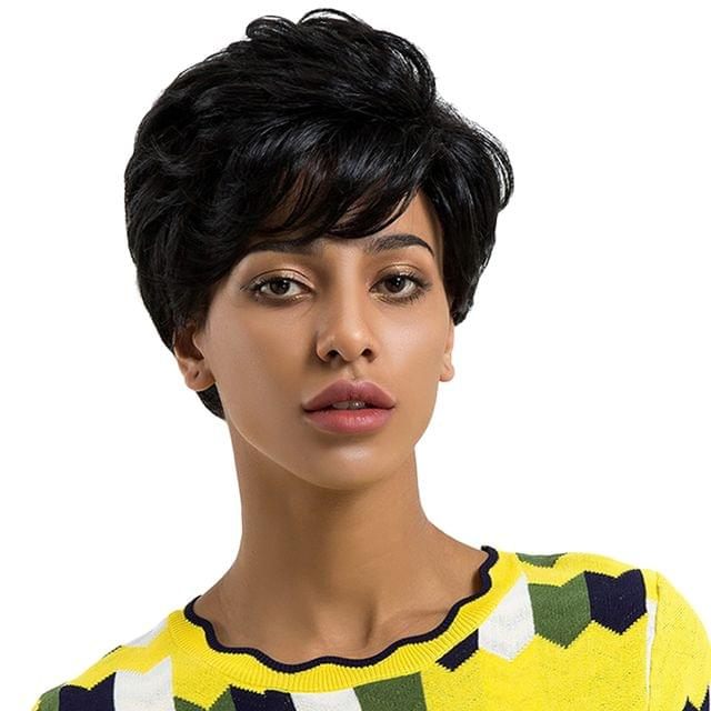 Women Short Full Fringe Wig 9 inch, Real Human Hair Wavy Hairpieces, Daily Party Wear Heat Safe