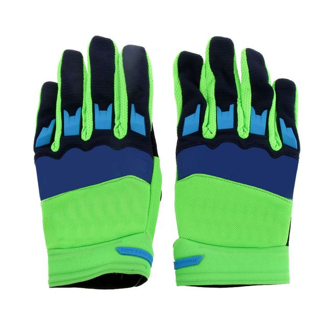 Motorcycle Driving Dust Dirt Protection Racing Cycling Gloves Comfortable Wear Breathable Cloth Gloves Pair Green Blue XL