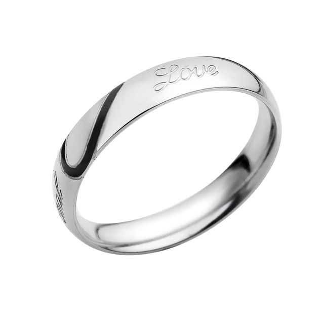Mens Stainless Steel Real Love Heart Couples Wedding Ring - US size 9