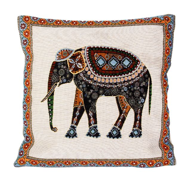 Cotton Linen Blend Knitted Elephant Pattern Cushion Pillow Case Cover Home Office Bedroom Living Room Decor 42 CM