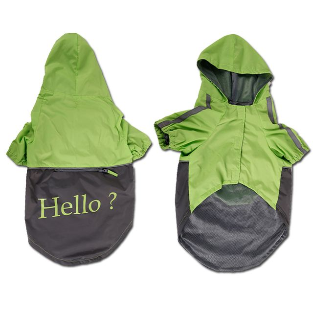 Lightweight PU Leather 3 Buttons Easy Pull Over Style Dog Puppy Raincoat Poncho Pet Supplies Green + Dark Grey L