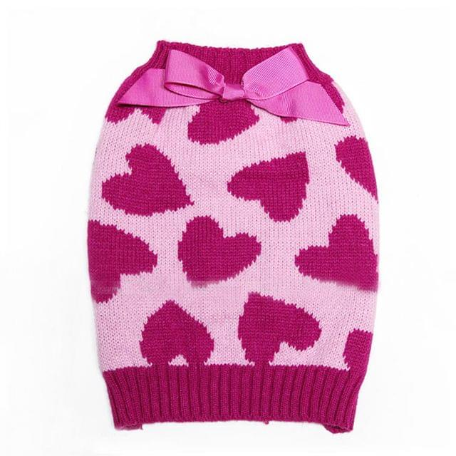 Pink Heart Pattern Charms Sweater Warm Clothes For Pet Dogs Winter Clothing Apparel Outfit Supplies Size XS
